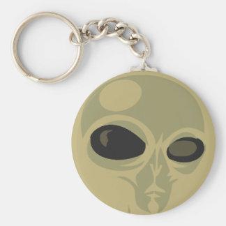 Leering eyes alien face customizable basic round button keychain