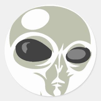 Leering eyes alien face customizable classic round sticker