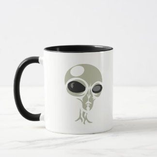 Leering eyes alien face customizable mug