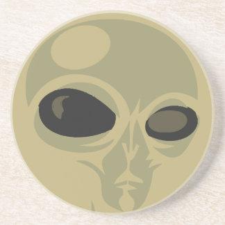 Leering eyes alien face customizable sandstone coaster