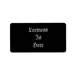 Leetness Is Here. Label
