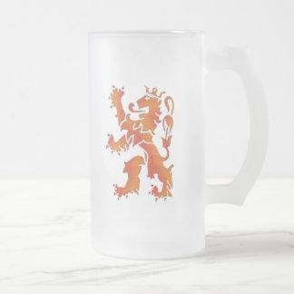 Leeuw de Oranje - león holandés Taza De Cristal