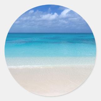 Leeward Beach   Turks and Caicos Photo Classic Round Sticker
