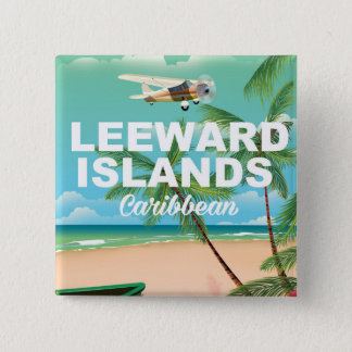 Leeward Islands retro travel poster Pinback Button