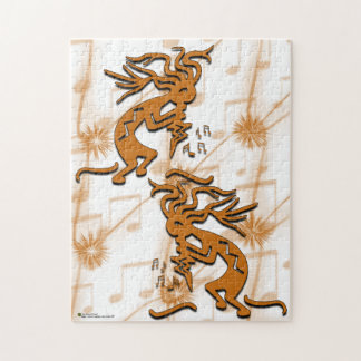 Left and Right Facing Kokopelli Musician Jigsaw Puzzle