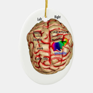 Left and Right Side of Brain Ceramic Ornament