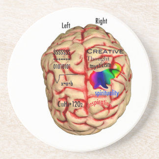 Left and Right Side of Brain Sandstone Coaster