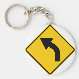 Left Curve Ahead Highway Sign Key Chain