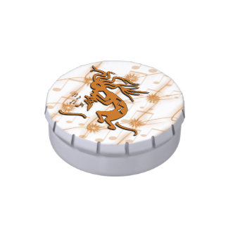 Left Facing Kokopelli Musician Jelly Belly Candy Tin