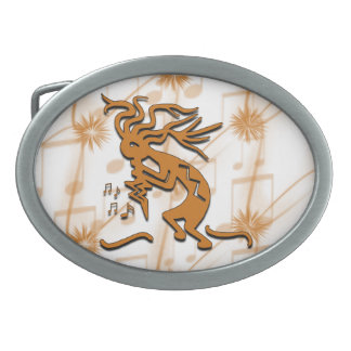 Left Facing Kokopelli Musician With Musical Notes Oval Belt Buckle