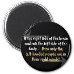 Left-handed people 2 inch round magnet