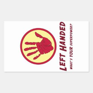 Left Handed Super Power Rectangular Stickers