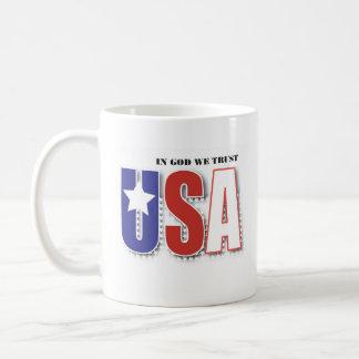 Left handed USA In God We Trust mug w Psalm 33:12