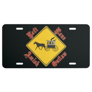 Left Lane Amish Outlaw black license plate