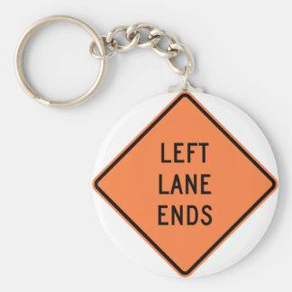 Left Lane Ends Construction Highway Sign Keychain
