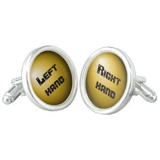Left right gold cufflinks