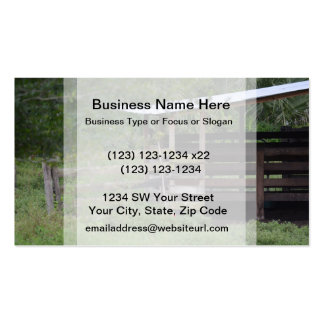 left side of wooden horse barn stall business card