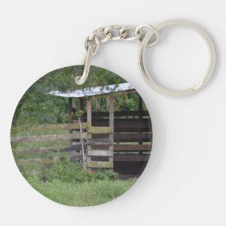 left side of wooden horse barn stall keychain