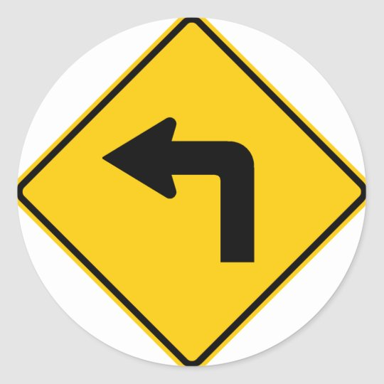Left Turn Ahead Highway Sign Classic Round Sticker