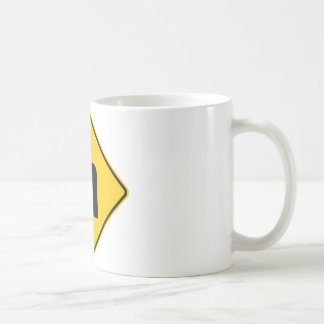 Left Turn Ahead Highway Sign Coffee Mug