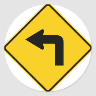 Left Turn Ahead Highway Sign Stickers