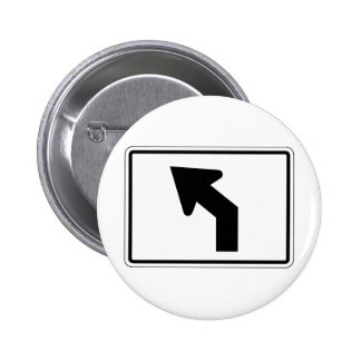 Left Turn Street Sign Pinback Button