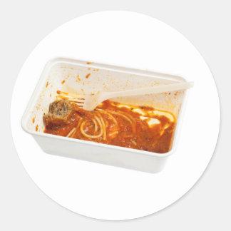 Leftover meatball spaghetti classic round sticker