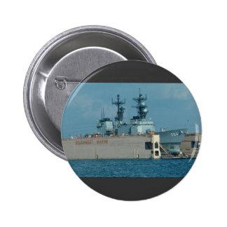"Leftwich"" in drydock, sonar dome in view, San Dieg 2 Inch Round Button"