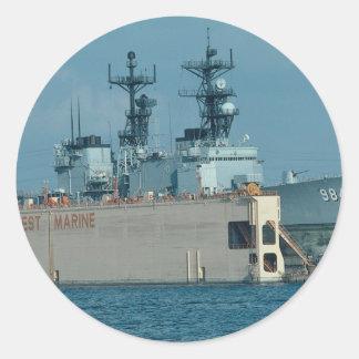 "Leftwich"" in drydock, sonar dome in view, San Dieg Classic Round Sticker"