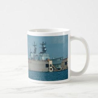 "Leftwich"" in drydock, sonar dome in view, San Dieg Classic White Coffee Mug"