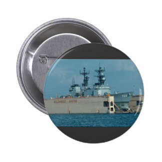 "Leftwich"" in drydock, sonar dome in view, San Dieg Pinback Button"