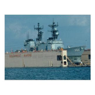 "Leftwich"" in drydock, sonar dome in view, San Dieg Postcard"