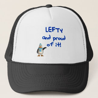 Lefty and Proud of it! With Penguin, blue writing Trucker Hat