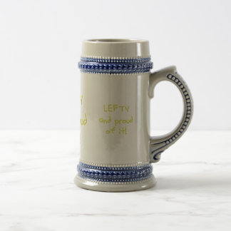 Lefty and Proud of it! Yellow and white text Mugs