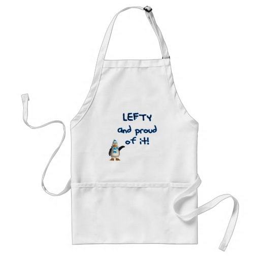 Lefty and Proud! With penguin in blue & black Apron