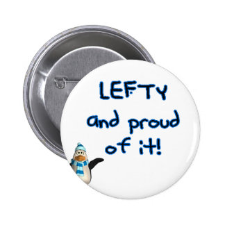 Lefty and Proud! With penguin in blue & black Buttons