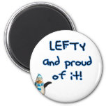 Lefty and Proud! With penguin in blue & black Fridge Magnets