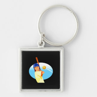 Lefty Girl Batting.png Keychain