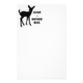 Leg Day = Baby Deer on Ice Stationery