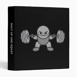Leg Day - Squat - Kawaii Weightlifter 3 Ring Binder