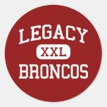 Legacy - Broncos - High School - Mansfield Texas Round Stickers
