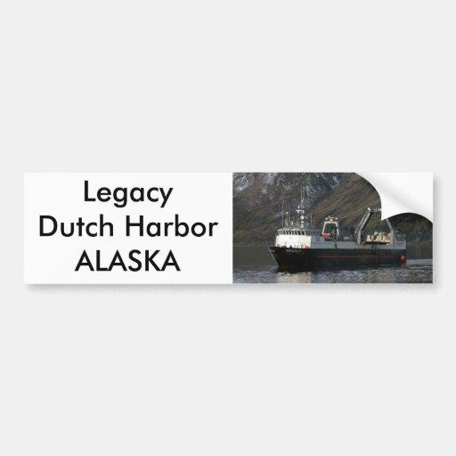Legacy, Fishing Trawler in Dutch Harbor, AK Car Bumper Sticker