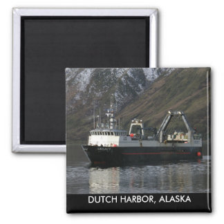 Legacy, Fishing Trawler in Dutch Harbor, AK 2 Inch Square Magnet