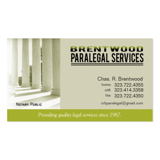Legal1 Paralegal Law Office Services Notary Public Business Cards