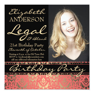 """Legal and Blond 21st Birthday Party 5.25"""" Square Invitation Card"""