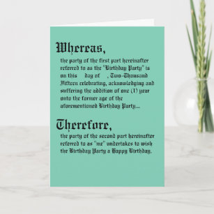 Legal Contract Birthday Card