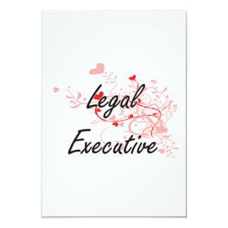 Legal Executive Artistic Job Design with Hearts 3.5x5 Paper Invitation Card