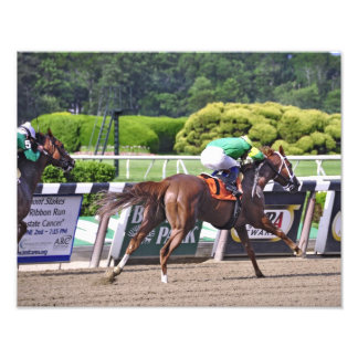 Legal Lady winning at Belmont Park Photographic Print