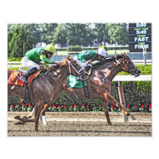Legal Lady winning at Belmont Park Photograph
