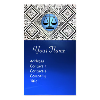 LEGAL OFFICE, ATTORNEY BLUE BLACK WHITE DAMASK Double-Sided STANDARD BUSINESS CARDS (Pack OF 100)